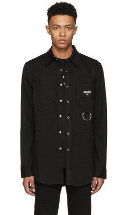 Givenchy - Black Distressed Denim Shirt