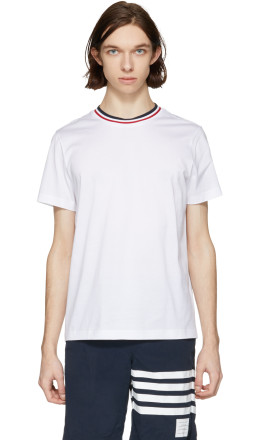 Moncler - White Tricolor Collar T-Shirt