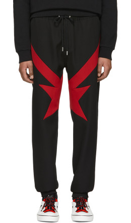 Givenchy - Black & Red Stripes & Stars Trousers