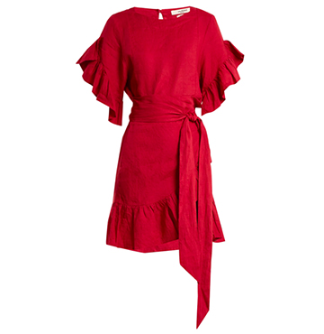 Delicia Ruffle-Trim Linen Wrap Dress, Isabel Marant Etoile, $425