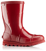 A red rain boot.