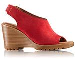 A red slingback sandal.