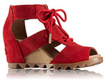 A red wedge sandal.