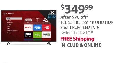 TCL 55S403 55 4K UHD HDR Smart Roku LED TV