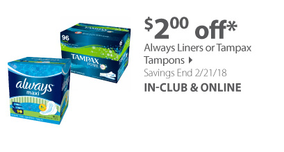 Always Liners or Tampax Tampons