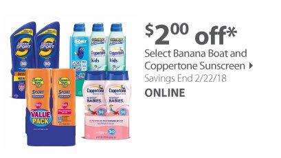 Select Banana Boat and Coppertone Sunscreen