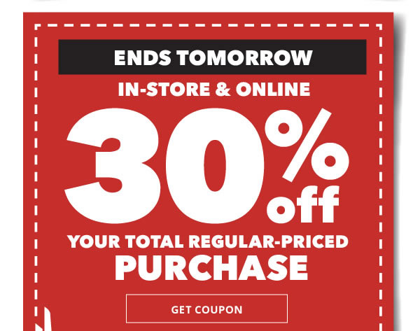 Save through 2/14 in-store and online 30% off your total regular-priced purchase. Get coupon.