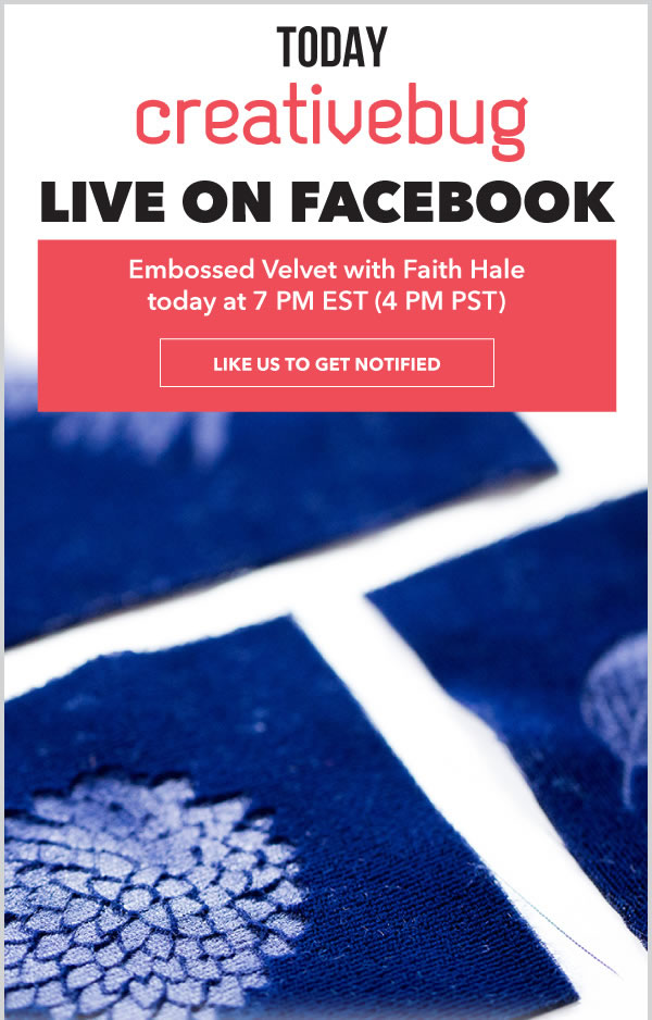 Facebook Live: Embossed Velvet with Faith Hale. Like us to get Notified.