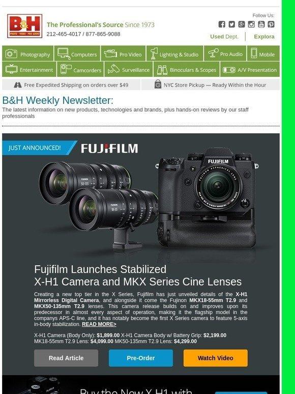 B&H Photo: Newsletter: New Cameras & Lenses from Fujifilm