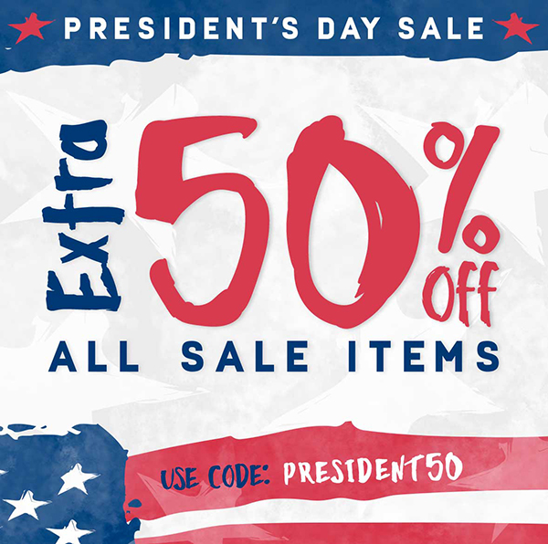 Additional 50% off sale items now through 2/19.