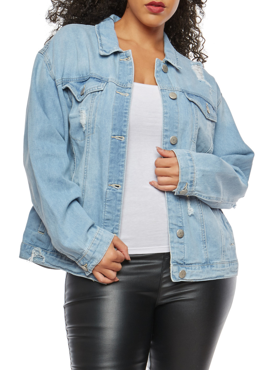 19de0fb6f2f Plus Size WAX Oversized Distressed Denim Jacket