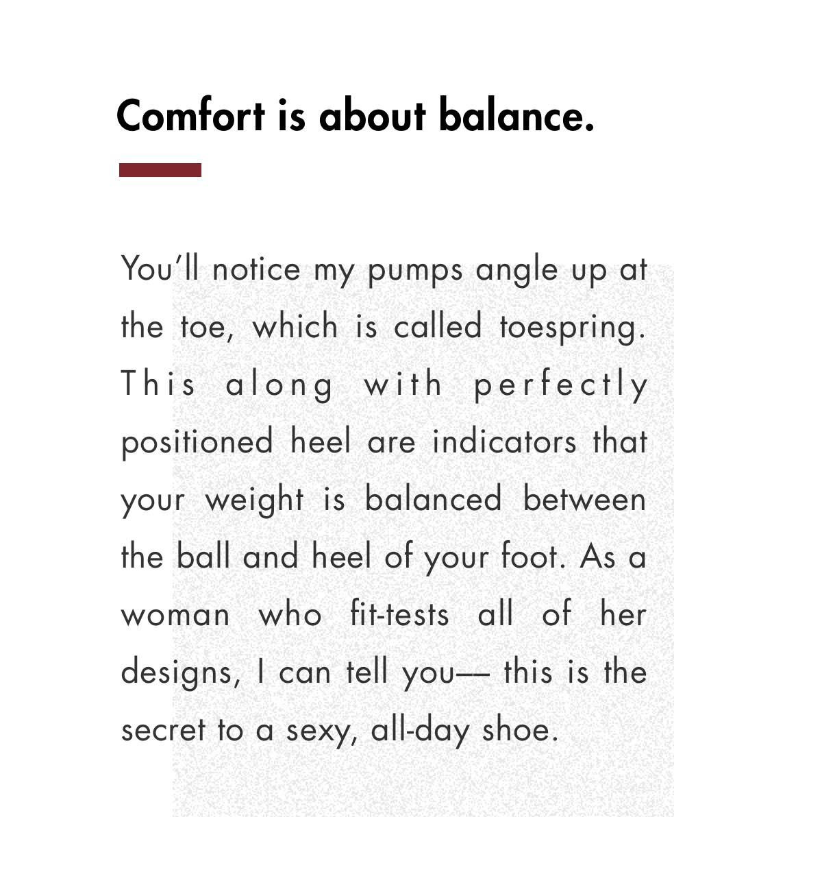 Comfort is about balance