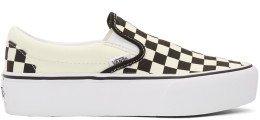 Vans - Off-White & Black Checkerboard Classic Slip-On Platform Sneakers