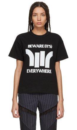 Sacai - Black 'Beware' Zip T-Shirt