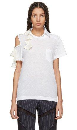 Sacai - White Asymmetric Ruffle T-Shirt