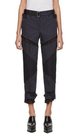 Sacai - Navy Pinstripe Trousers