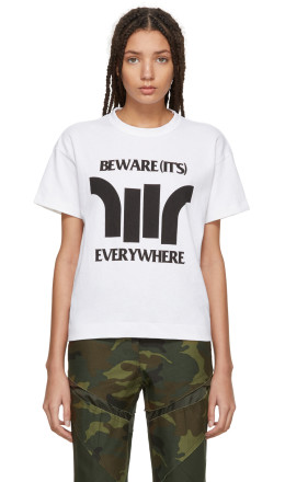 Sacai - White 'Beware' Zip T-Shirt