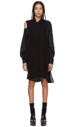 Sacai - Black Asymmetric Knit & Poplin Dress