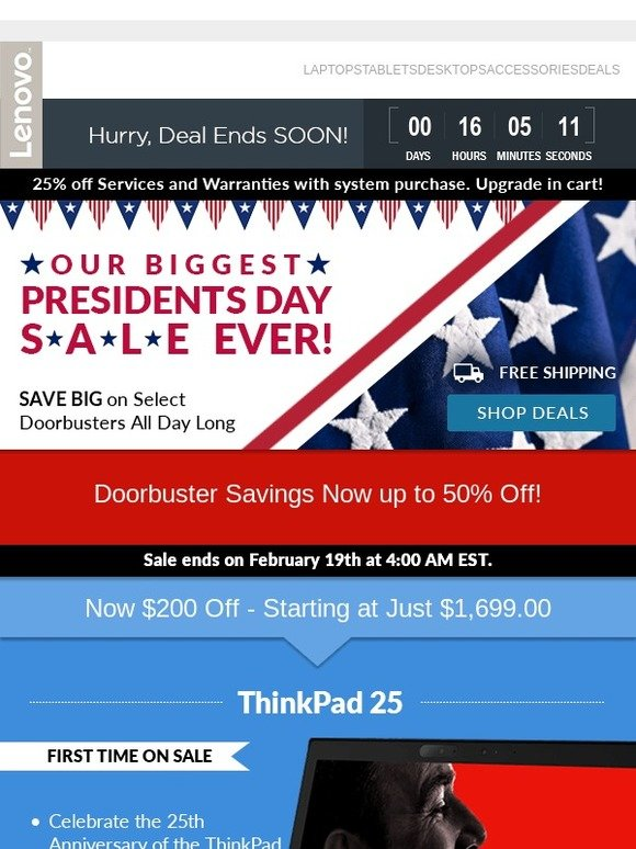 Lenovo US: ✉ (Doorbuster Alert) Lowest Price Ever on the