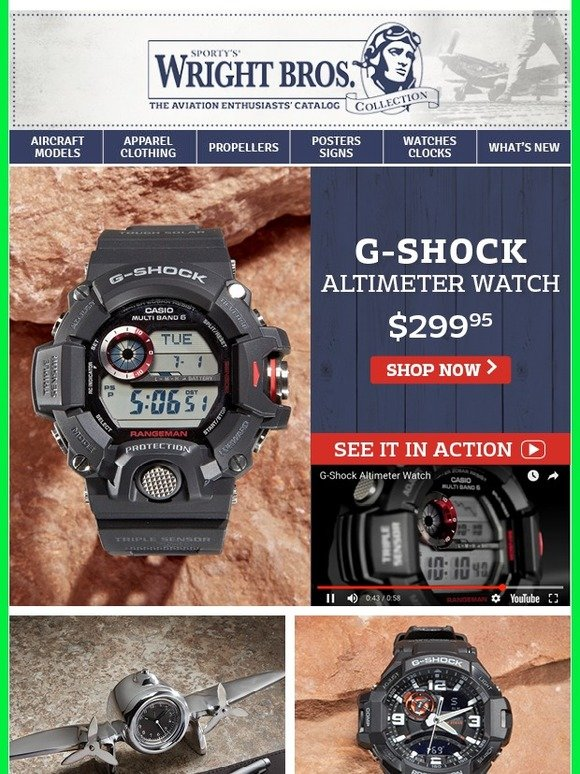 8cd684ae45a3a Sporty s Wright Bros Collection  The  1 Aviation G-Shock Altimeter Watch
