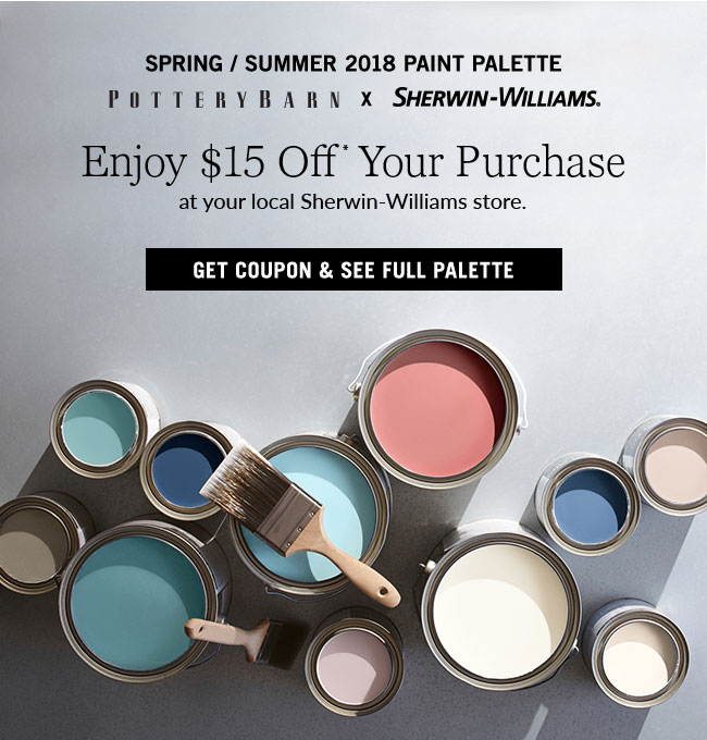 picture about Sherwin Williams Printable Coupon identify Pottery Barn: Transforming? Heres $15 OFF paint at your community