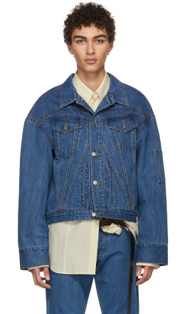 Chin Mens - Blue Cropped Denim Jacket