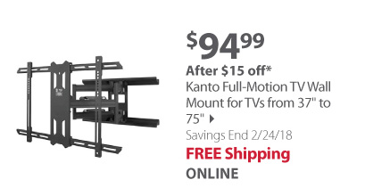 Kanto Full-Motion TV Wall Mount for TVs from 37 to 75
