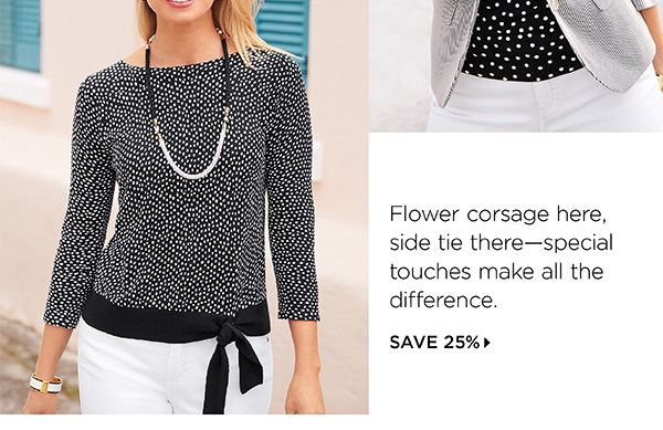 Flower corsage here, side tie there. Shop New Arrivals