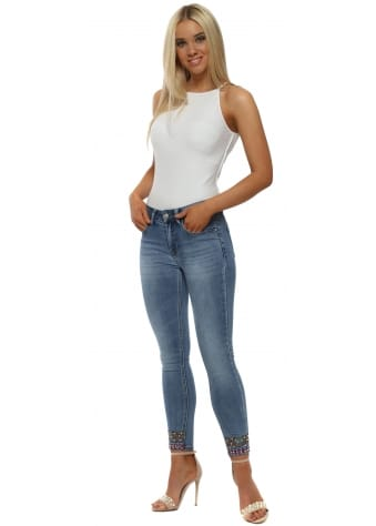 REDIAL Blue Stretch Fit Pearl Ankle Jeans