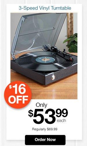 3-Speed Vinyl Turntable