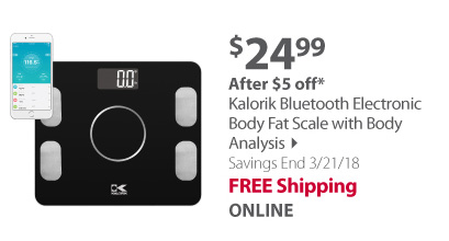 Kalorik Bluetooth Electronic Body Fat Scale with Body Analysis
