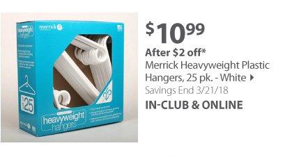 Merrick Heavyweight Plastic Hangers, 25pk