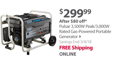 Pulsar 3,500W Peak/3,000W Rated Gas-Powered Portable Generator