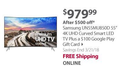 Samsung UN55MU850D 55 4K UHD Curved Smart LED TV $100 Google Play Gift Card