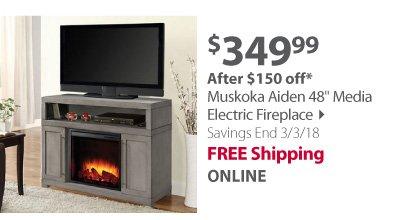 Muskoka Aiden 48 Media Electric Fireplace