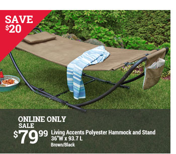 save  20 online only sale  79 99 living accents polyester hammock and stand 36w x 93 7 l     ace hardware  up to 40  off select patio   milled  rh   milled