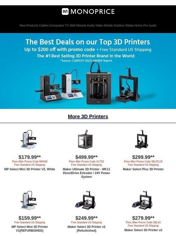 monoprice select mini 3d printer v2 price