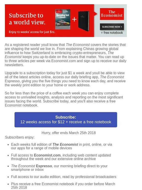 The Economist: Try the Economist today and receive a free notebook