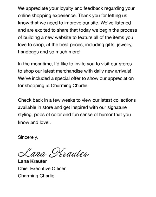 valued customer thank you letters