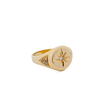 Jacquie Aiche Gold Center-Burst Signet Ring $1,438