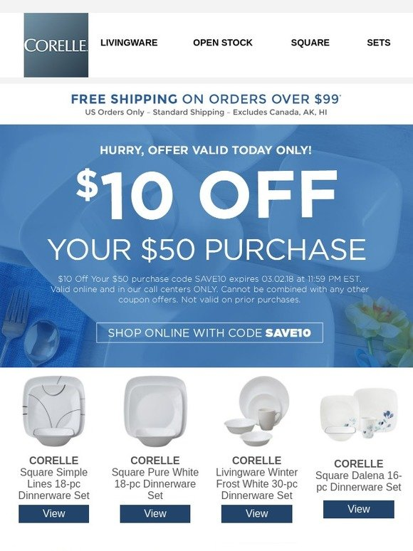 Corelle: Save $10 Off Your Purchase Today | Milled