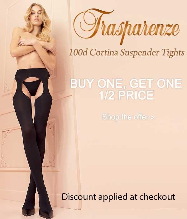 b6a63f60e Buy 1 Get 2nd Pair 1 2 Price On Trasparenze 100 Denier Cortina Suspender  Tights