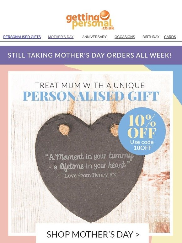 Getting Personal Dont Forget Mothers Day This Week Milled