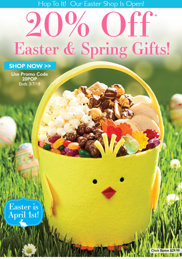 The popcorn factory hop to it 20 off easter spring gifts milled negle Choice Image