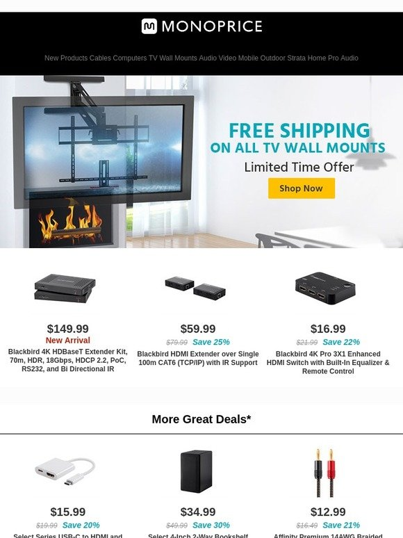 Monoprice com: Free Shipping On All TV Wall Mounts | Dell