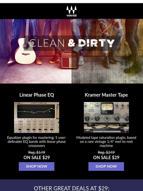 Waves Audio: Kramer Master Tape & Linear Phase EQ - $29 Each! | Milled