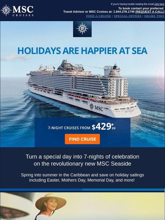 MSC Cruises: Holidays are Happier At Sea - Easter, Mother's