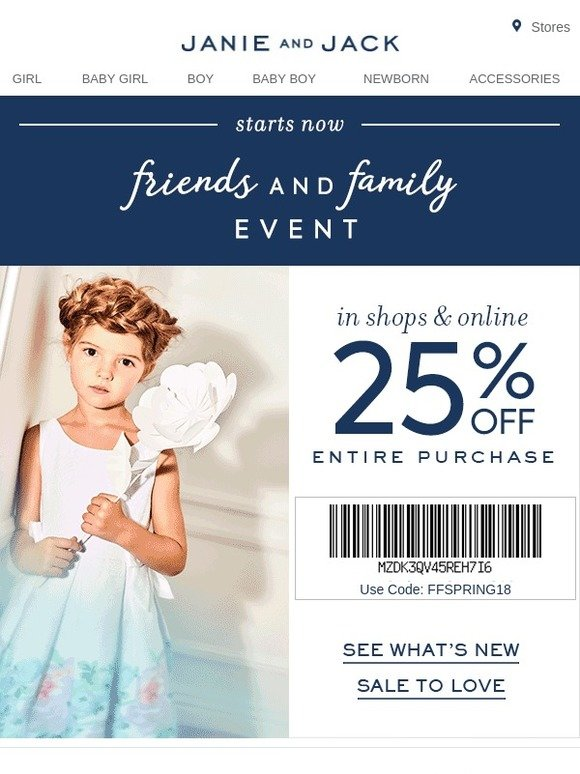 picture about Janie and Jack Printable Coupons identify Janie and Jack: 25% Off Something for Close friends Family members Milled