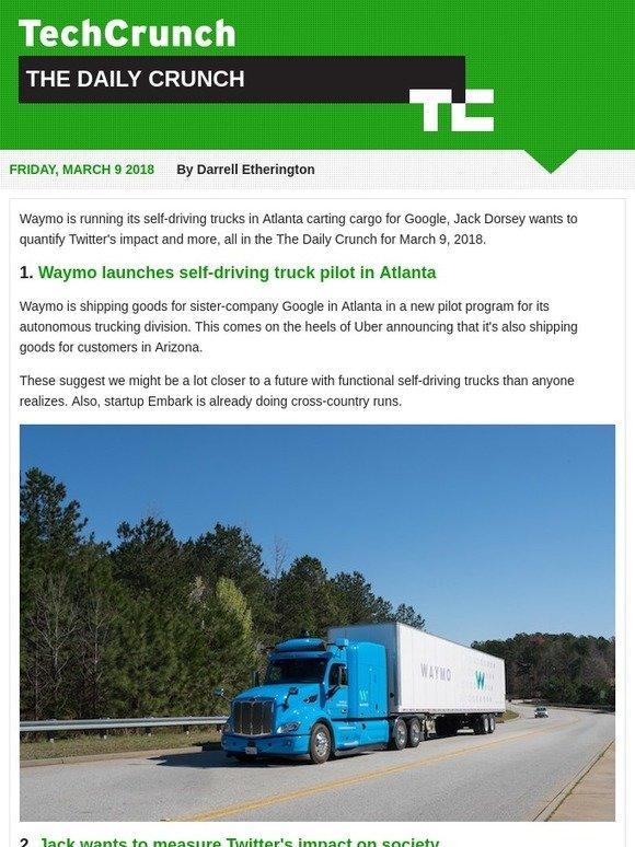 TechCrunch: Waymo launches self-driving truck pilot  It's