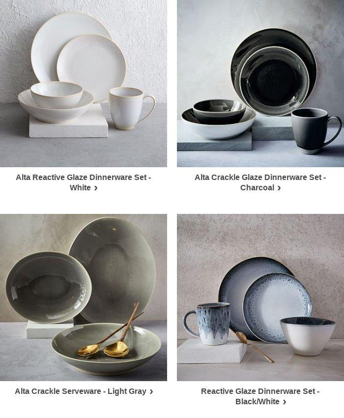 Picks For You & West Elm: Back in stock: Alta Crackle Glaze Dinnerware Set - Light ...